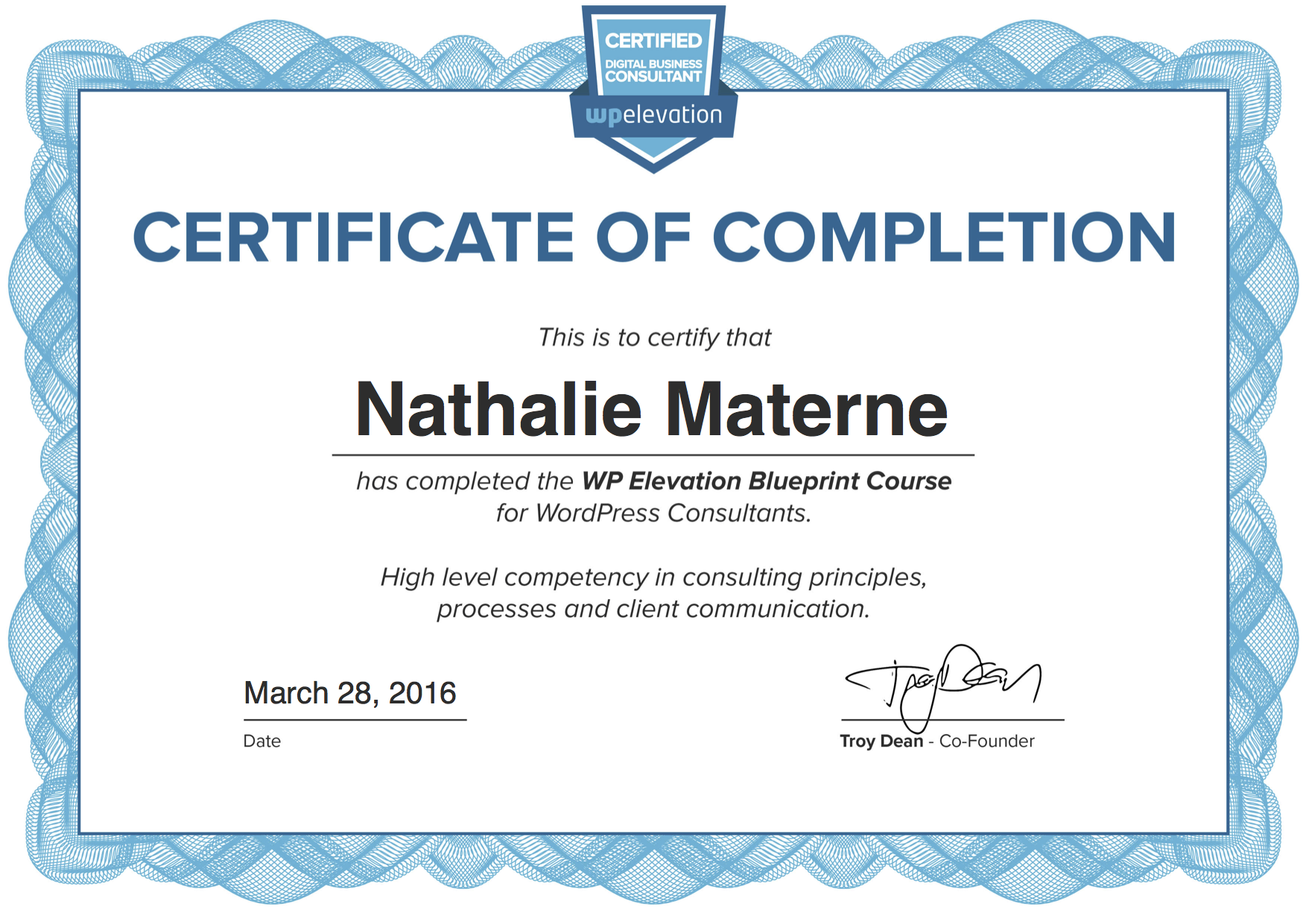 certification consultante - site web wordpress