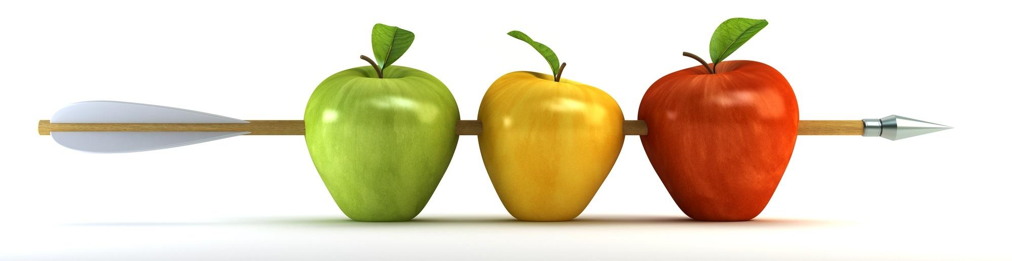 3d scene with pierced apples by arrow